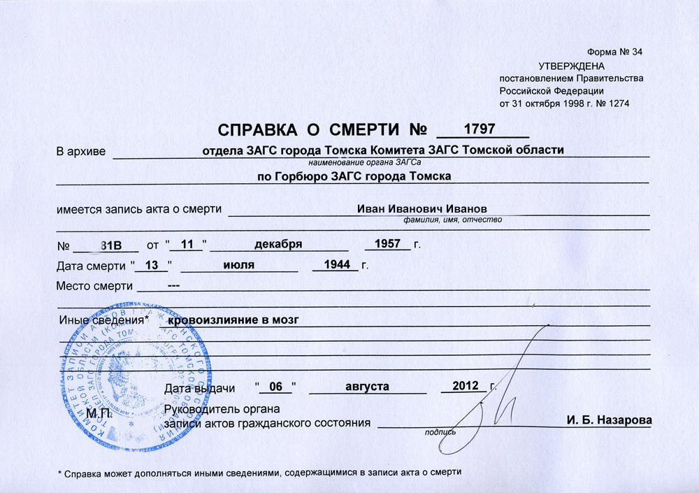 документы для выписки умершего из квартиры